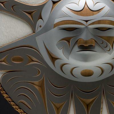 "Winter Moon panel (detail) by John Marston, Coast Salish. Red cedar, red cedar bark rope, 37 x 37 x 5.5""   Inuit Gallery of Vancouver"