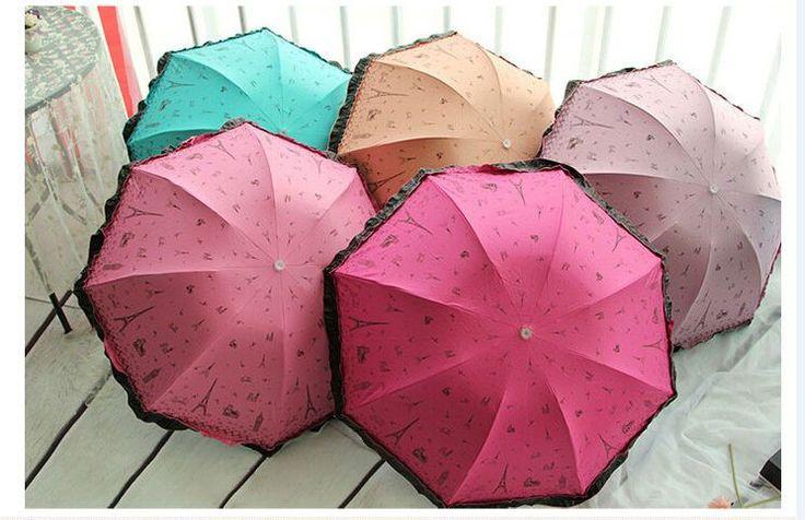 New Windproof Anti UV Clear/Rain Korean Lacework Princess Folding Umbrella #UnbrandedGeneric #CompactFolding