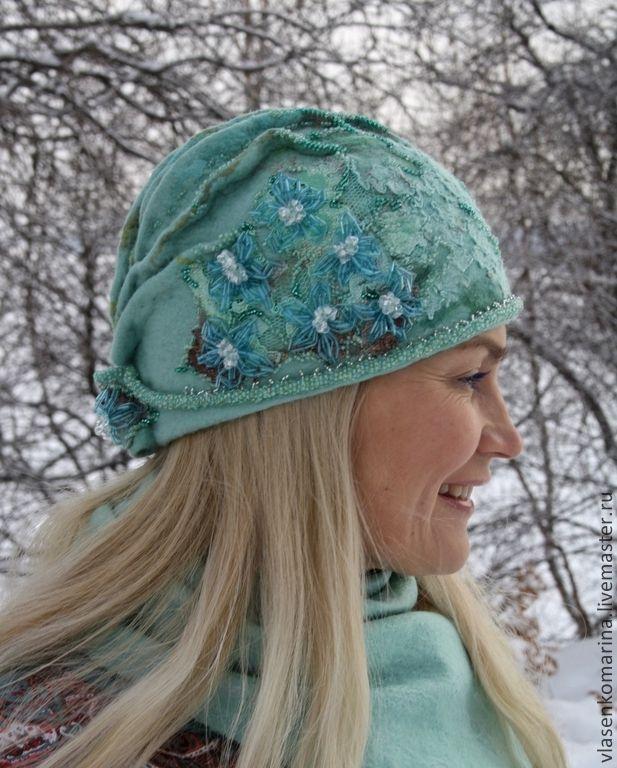 Sets van handgemaakte accessoires.  Fair Masters - handgemaakte komlekte gefreesd cap wanten Swan Princess.  Handgemaakt.