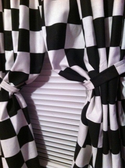1 Set  Window Curtain Panels made from Nascar Black & White Checkered Flag Fabric Each 42 W x 45L