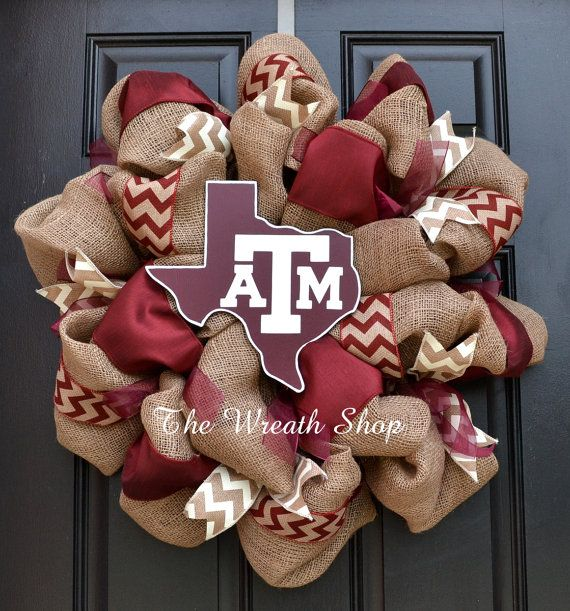 Texas A&M Burlap Wreath with Chevron  State by CreationsbySaraJane, $90.00