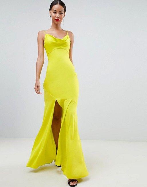 fed767cd8d29 ASOS Tall | ASOS DESIGN Tall bias cut satin slip maxi dress with drape neck