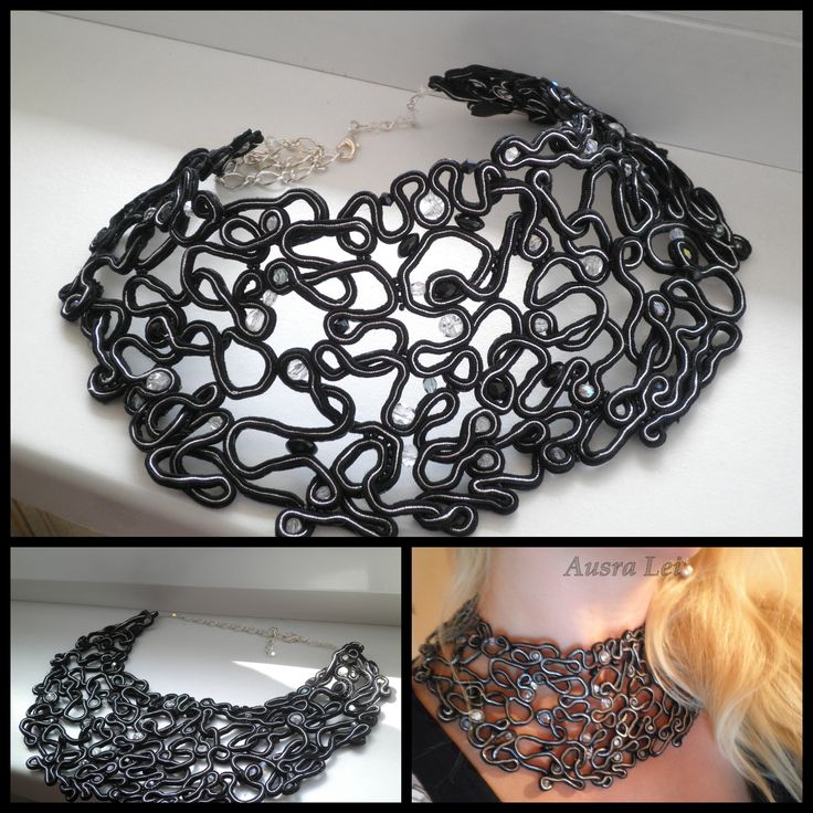 Black soutache handmade necklase