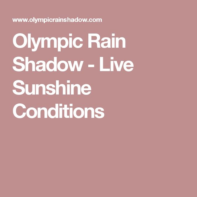 Olympic Rain Shadow - Live Sunshine Conditions
