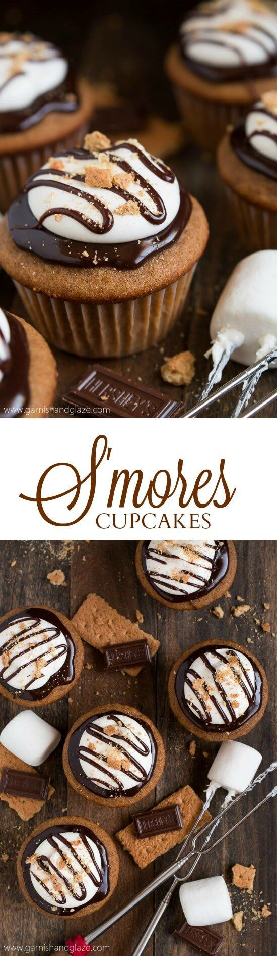 Celebrate National S'mores Day with S'mores Cupcakes that have milk chocolate ganache and fluffy marshmallow frosting on top of a graham cracker cake. #cupcakerecipes