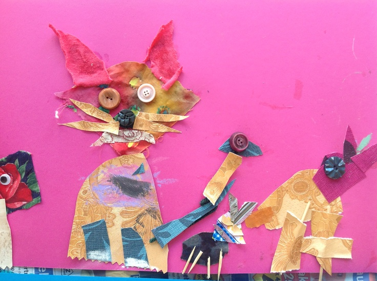 Stof, behang, wol en knopen. Collage van dieren. Groep 3/4.