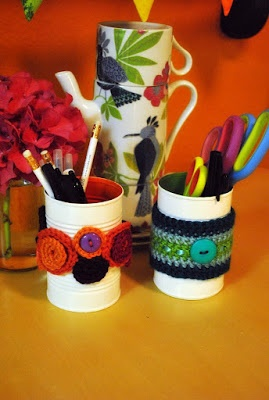 Painted soup cans and Crochet Coozies Pencil Holder Whatzits (I don't have a nice streamline name for these.)