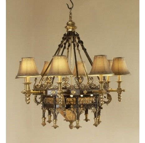 I seriously need to find a castle black iron and antique for Chandelier mural antique
