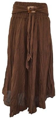 Ladies Long Full Crinkle Boho Gypsy Cotton Skirt with Coconut Shell Buckle (Apple Green): Amazon.co.uk: Clothing