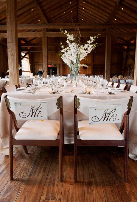 Mr & Mrs Chairs - these are cute, and easy to make, I could make them for you if you want.