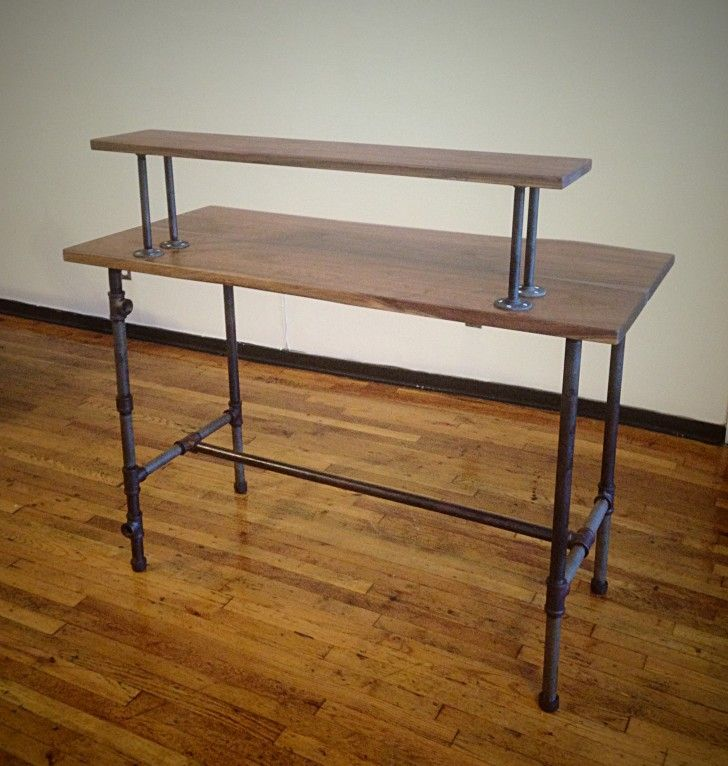 Furniture. antique wooden standing desk with black iron ...