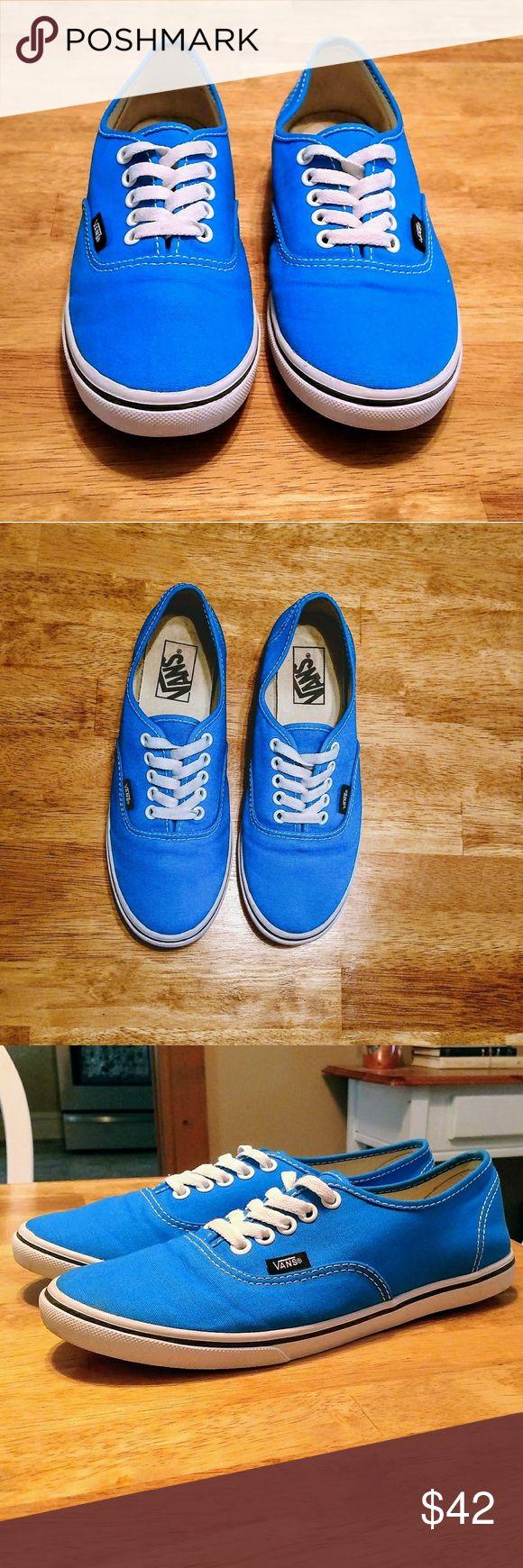 Brand New without box!!! Beautiful blue Vans shoes Mint condition never worn. Beautiful blue color canvas slip on sneakers!!! Women's size 8. Men's size 6.5 Vans Shoes