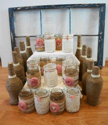 Dusty rose ivory burlap lace mason jar centerpieces for