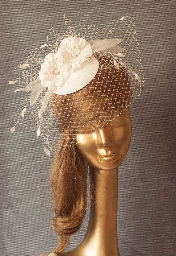 Bridal Ivory FASCINATOR with BIRDCAGE VEIL and Flowers.