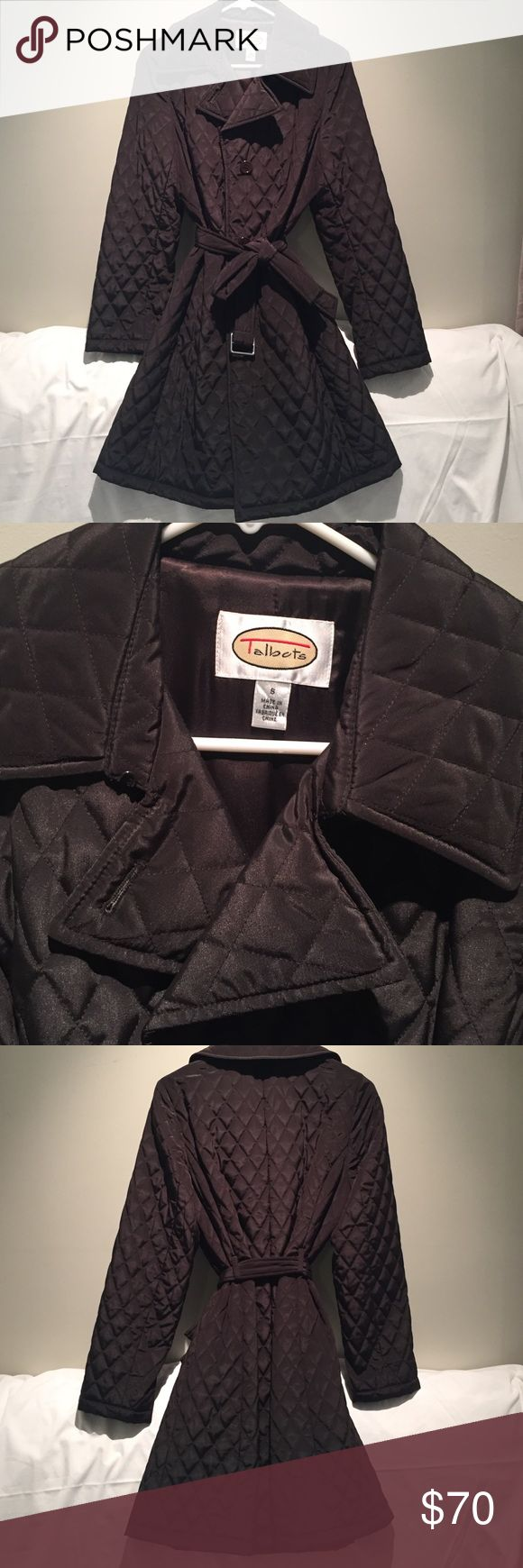 Talbots long brown fall/winter puffer jacket The jacket is warm and has a small amount of puff to it. I would consider it more of a fall/winter jacket because it is not super thick. Because it is not thick it is a nice thin silhouette Talbots Jackets & Coats Puffers