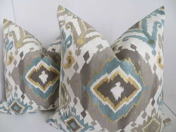 Ikat Pillow CoversTurquoise Ikat by ClavelFashion on Etsy