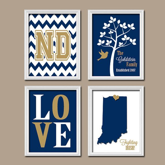 University Notre Dame State College Custom Family Monogram Initial State Love Irish Tree Wedding Date Artwork Set of 4 Prints WALL ART Decor on Etsy, $35.00