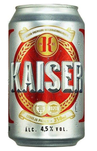 Cerveja Kaiser, estilo Standard American Lager, produzida por FEMSA Cervejaria, Brasil. 4.5% ABV de álcool.