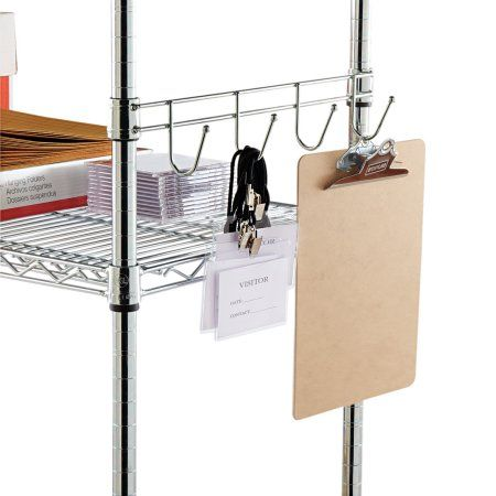 Alera Hook Bars For Wire Shelving, Four Hooks, 18 inch Deep, Silver, 2 Bars/Pack