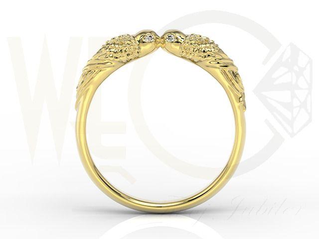 Pierścionek w formie papug z żółtego złota z diamentami / Ring made from yellow gold with the shape of parrots/ 1126 PLN / #parrots #ring #gold #diamonds #kiss