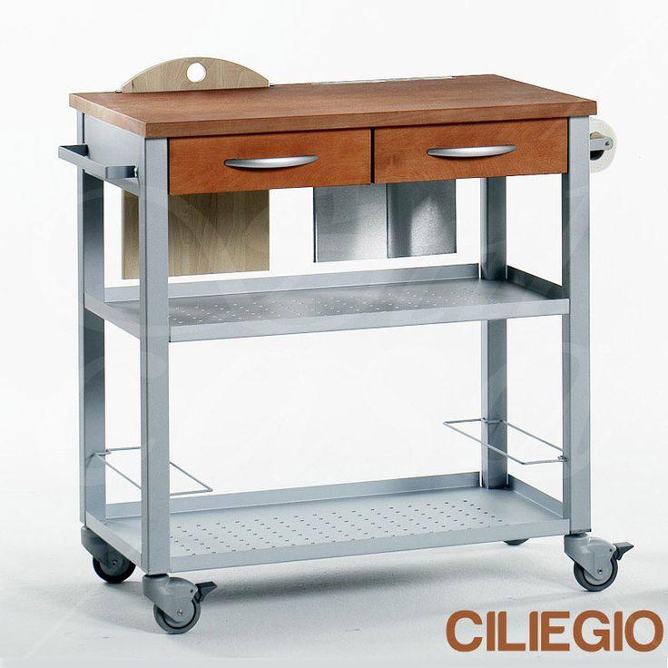 carrello da cucina professionale chef con ripiano in legno massello di faggio con tagliere