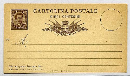 C 5/85, 10 c. Umberto I mill. 85 (cartoncino leggero).