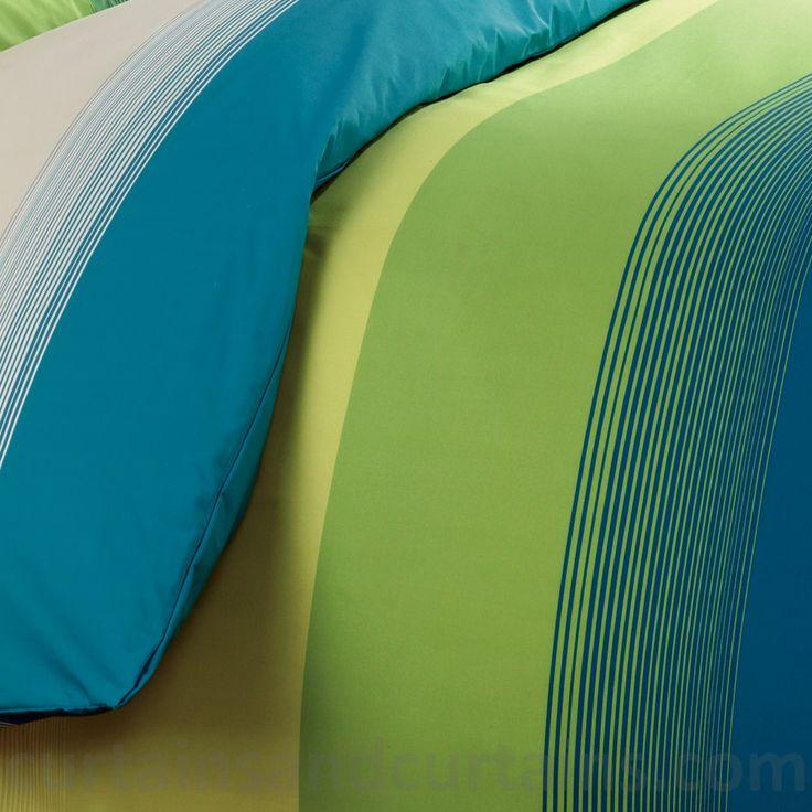 Studio Lime Green Teal Striped Print Duvet Cover Studios