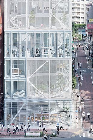 Shibaura offices, Tokyo | by Kazuyo Sejima. Photography: Iwan Baan. White steel & glass.