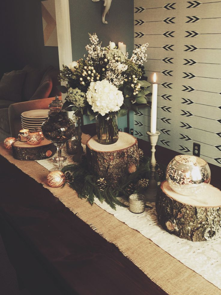 tree trunk centerpieces for party