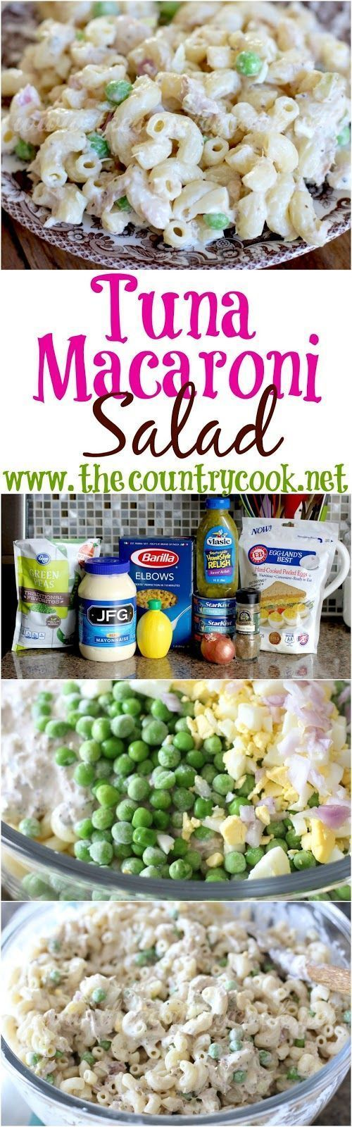 Tuna Macaroni Salad recipe from The Country Cook. Delicious flavors with lots of filling protein! Everyone loves this!