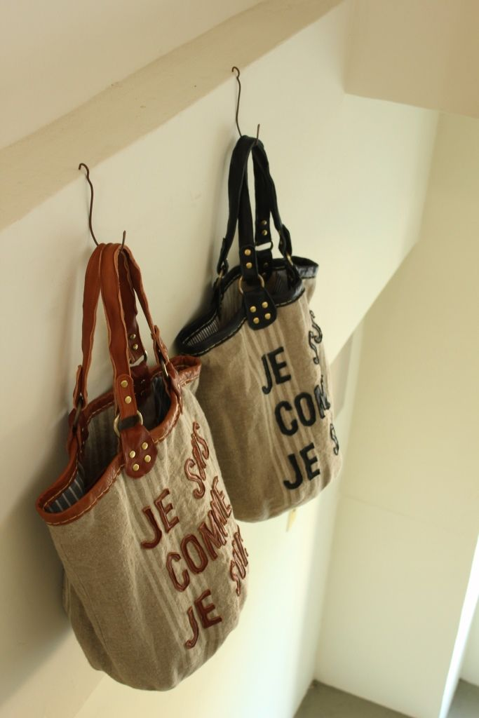 Leather Lettered Tote Bag