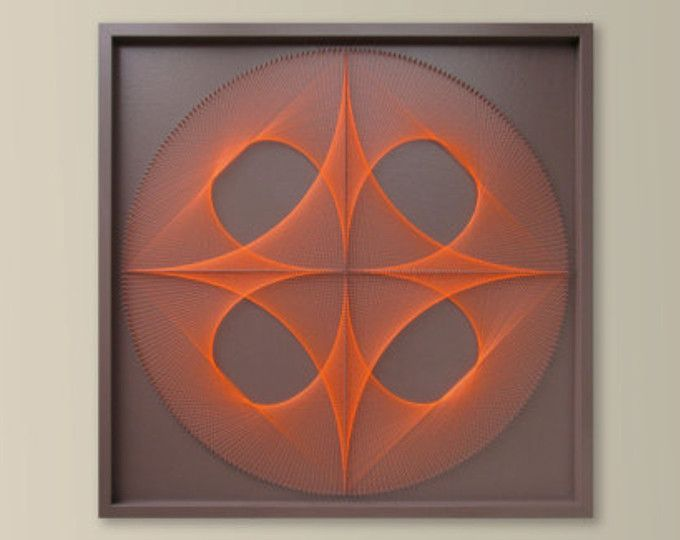 Large UV Wall Art In Cinnomon Brown And Neon Orange   Zen Wall Art    Meditation Yoga Wall Art   Custom String Art Mandala   Framed Art