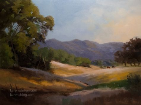 Oak Tree Meadow Paso Robles California impressionist landscape painting, painting by artist Karen Winters