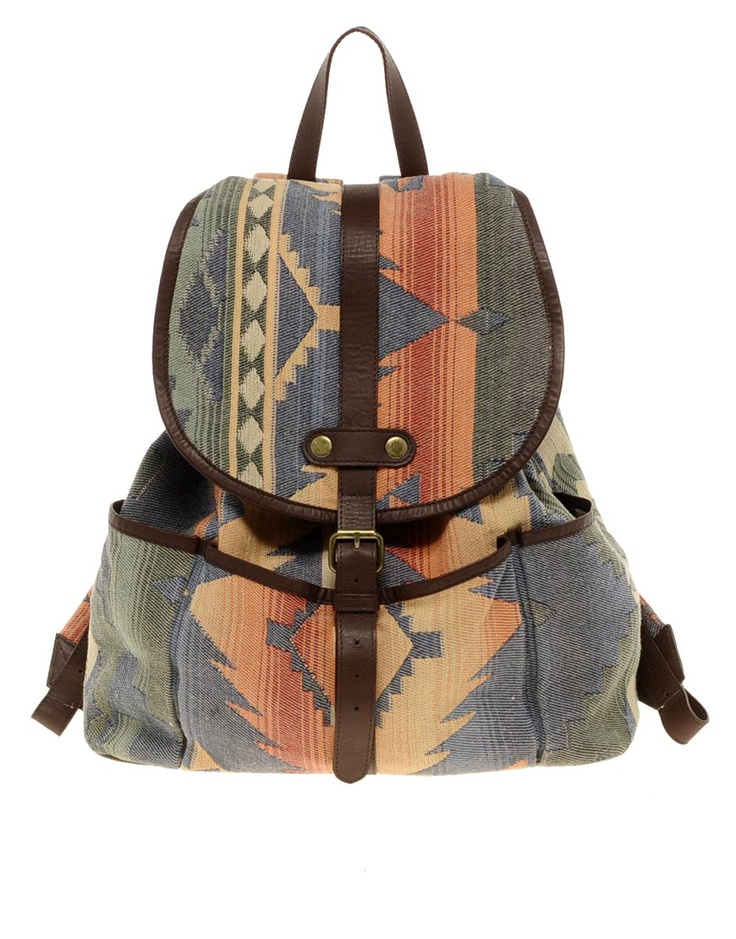 Hand woven leather trim backpack