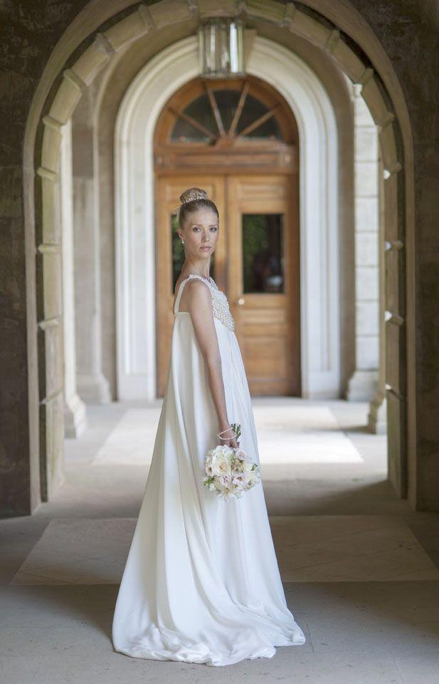 Dress by Rita Colson Cliveden Bride Collection 'Cleo' A line cut silk dress with beaded bib. #clivedenhouse #luxury #bridalwear #brides #couture #bespoke #pearls #beads #silk #ritacolson #elegance #bridalgown #ethicalfashion #bridesmagazine #britishdesigners #opulent www.ritacolson.com