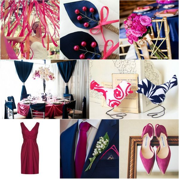 Raspberry navy blue Winter wedding colours 2013 2014 trends