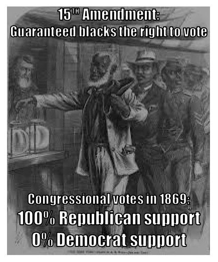 15th Amendment, passed 1869, ratified 1870. That's right people. Republicans! Same ones who freed the slaves.