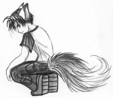 anime girl with black hair and wolf ears and tail - Google Search