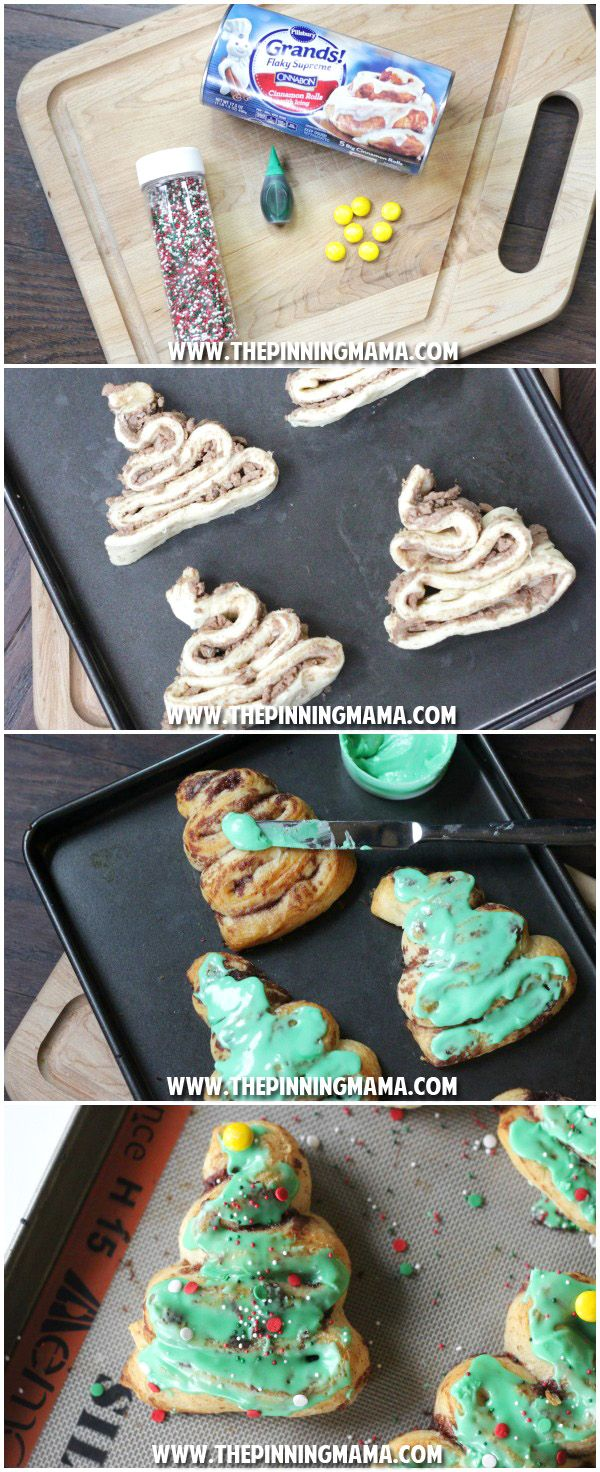 Cinnamon Roll Christmas Trees - This is the CUTEST idea for Christmas Breakfast I have seen!