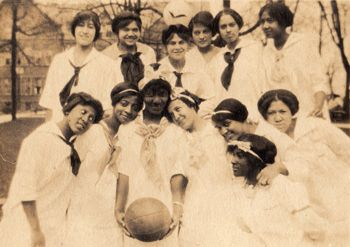 A page of unidentified African American basketball teams, around the 1910's. Among which, this group of young women scored a narrow win for Most Adorable.