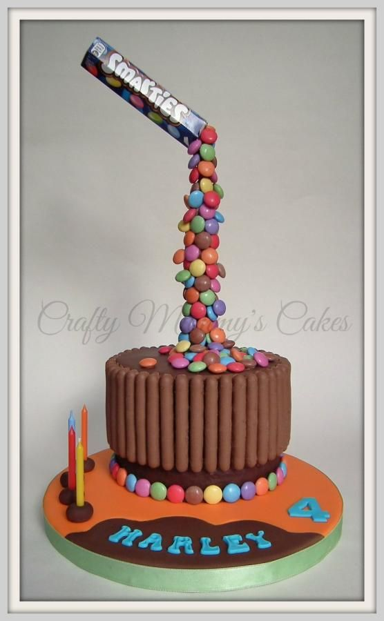 Gravity Defying Smarties - Cake by CraftyMummysCakes (Tracy-Anne) https://www.facebook.com/CraftyMummysCakes
