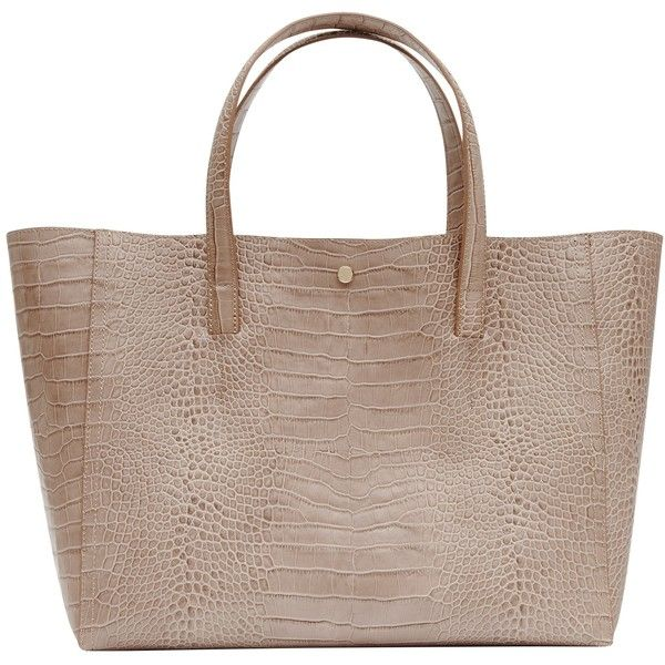Reiss Louie Tote Bag, Neutral ($235) ❤ liked on Polyvore featuring bags, handbags, tote bags, man bag, brown tote bags, leather handbag tote, leather tote purse and leather tote handbags