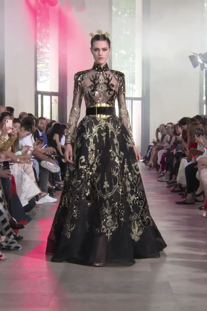 Stunning Gold Embroidered Black A Lane Maxi Dress