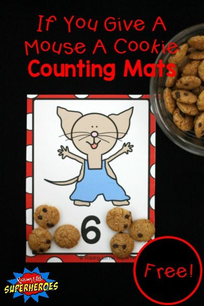 If You Give A Mouse A Cookie Inspired Counting Mats is a fun way for children to practice identifying numbers and counting from 1 cookie to 20 cookies.