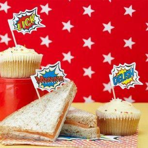 Superhero Pop Art Party Food Flags