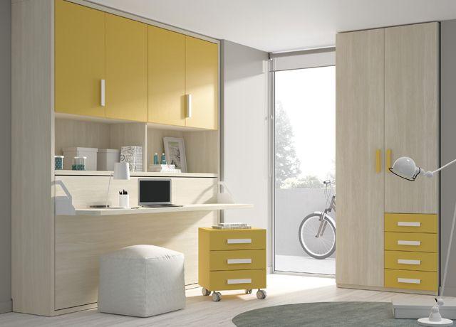 Kids Touch 71 Abatibles Juvenil Camas Abatibles Habitación juveneil con cama abatible, armario y escritorio.