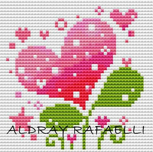 cross stitch - heart flower