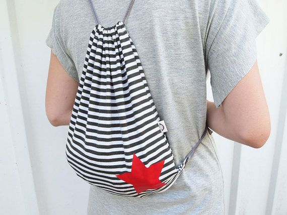 Drawstring backpack bag stripes grey and cream with red star Free International Shipping - $19.00