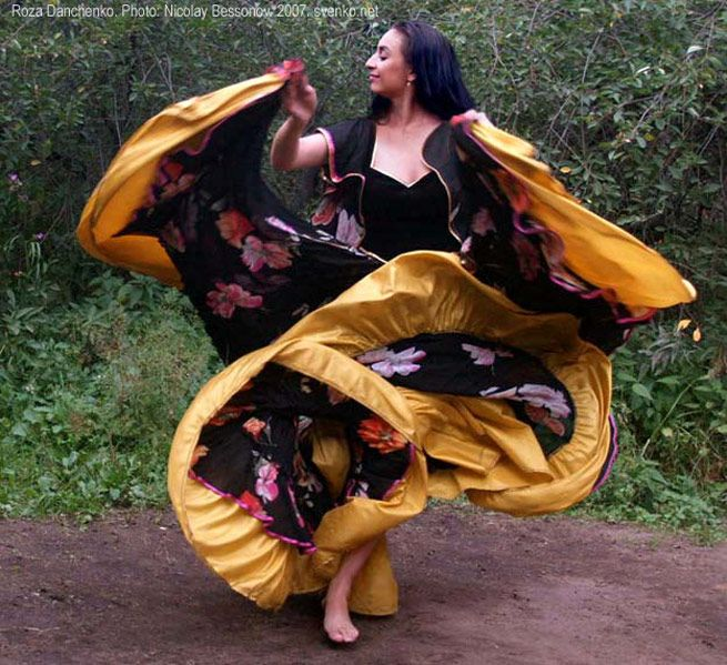 This is a Romani Gypsy performing a traditional Romani dance.  The dance and the music of the Romani people is very much unique and original, and due to their isolation from other cultures has remained mostly unchanged.  -Tom S