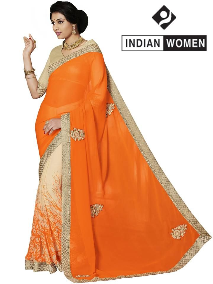 #Divine Orange!!  #Orange Georgette & Chiffon Print Half And Half Sari  INR 1196.00 Only